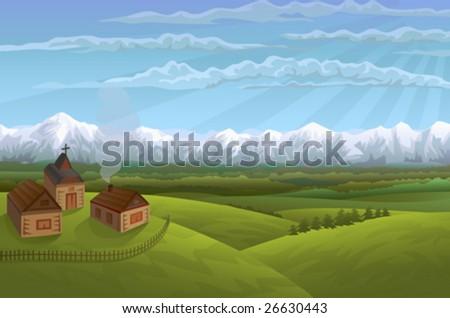 Alpine village - stock vector