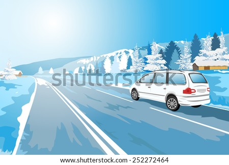 Alps car winter travel. EPS 10 format. - stock vector