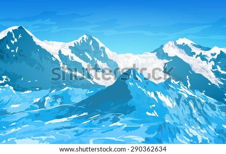 Alps high mountains at winter season. - stock vector