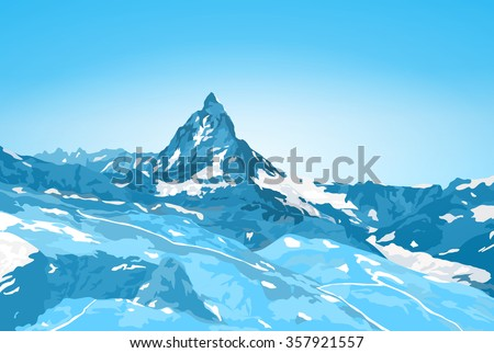Alps Matterhorn mountain winter landscape