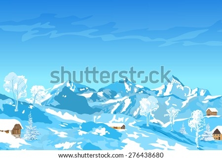 Alps mountains winter landscape. - stock vector