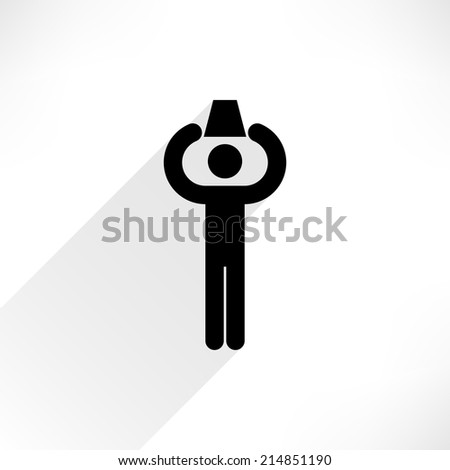 ALS Ice Bucket Challenge concept in flat style. Man holding a basin and pours herself with water. Black human icon with gray long shadow on white background. Vector illustration design element 8 eps - stock vector