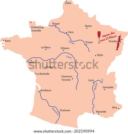 Alsace wine region map - stock vector