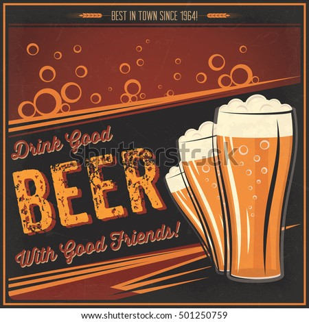 AVAILABLE HERE Etsy Vintage Beer Poster Stock Vector Royalty Free 501250759