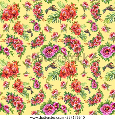 Alstroemeria flowers and humming-birds watercolor seamless pattern on yellow background vector illustration