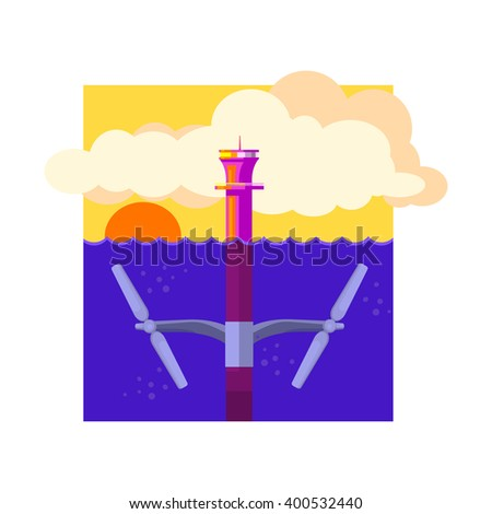 Alternative Energy Tidal Power Flat Vector Illustration In Simplified Style  - stock vector