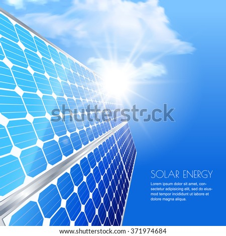 Alternative renewable solar energy and environmental concept. Template for banner, brochure, presentation. Close up of solar battery, power generation technology. Realistic vector illustration.  - stock vector