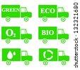 Alternative Transportation Technology, Hybrid Transportation Vehicles, Green Furgon Set Isolated on White Background - stock vector