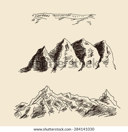 Altitude mountain landscape sketch hand drawing, in engraving etching style, for extreme climbing sport, adventure travel  and  tourism design