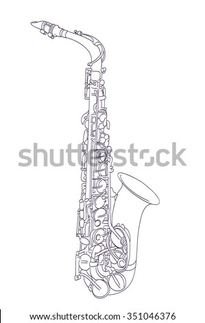how to draw a saxophone