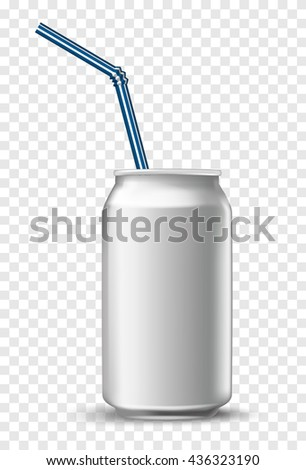 aluminium soda white beverage can with a straw. Vector illustration fresh metallic soda drink - stock vector