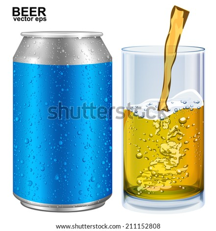 Aluminum cans, glass of beer with drops. Vector illustration  - stock vector