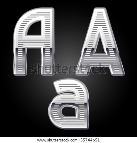 Aluminum or chrome engraved characters. a - stock vector