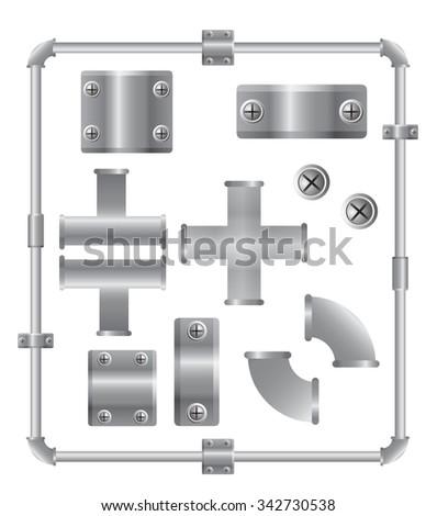 Aluminum pipes vector set design template - stock vector