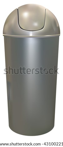 aluminum trash can on white background