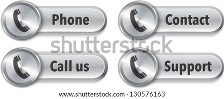 Aluminum web elements with phone sign. Vector Illustration