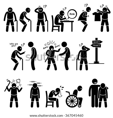 Alzheimer and Dementia Elderly Old Man Stick Figure Pictogram Icons - stock vector