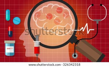 alzheimer parkinson brain cancer medication anatomy medical health care cure disease - stock vector