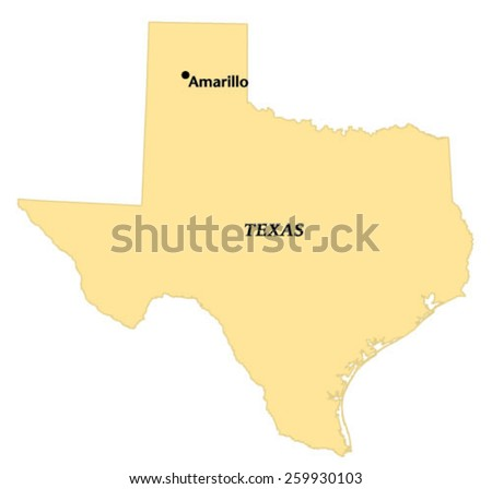 Amarillo Texas Locate Map Stock Vector Shutterstock - Where is amarillo texas on the map