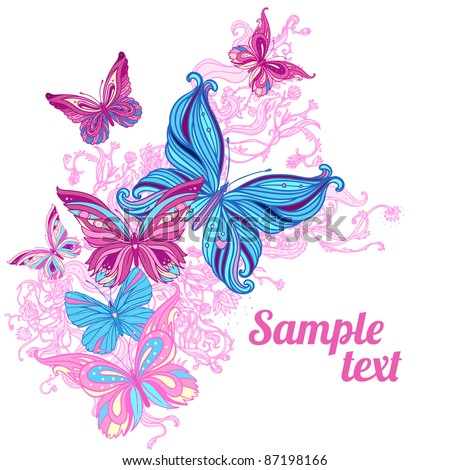 Amazing background with butterflies and flowers - stock vector