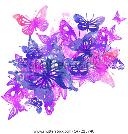 Amazing background with butterflies and flowers painted with watercolors. Vector illustration. - stock vector