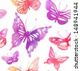 Amazing background with butterflies and flowers painted with watercolors. Vector seamless pattern. - stock vector