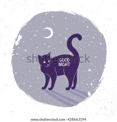 Amazing black cat in night. Vector illustration - stock vector