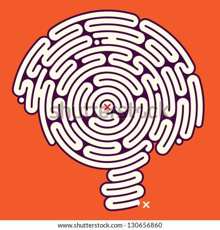 Amazing Brain Maze - stock vector