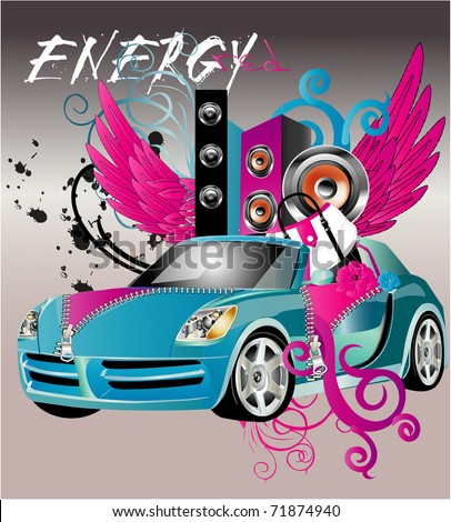 amazing car with wings and girls accessories