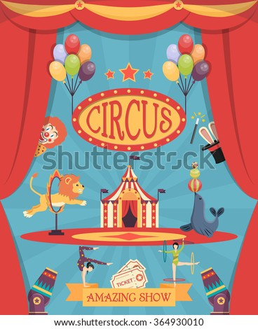 Amazing circus show poster with arena theatre coulisse tent and trained lion and navy seal flat vector illustration    - stock vector