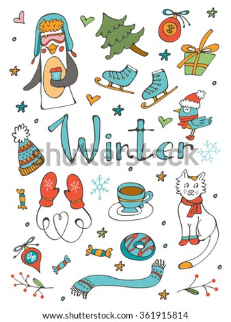 Amazing collection of hand drawn winter related graphic elements. Illustration in vector format