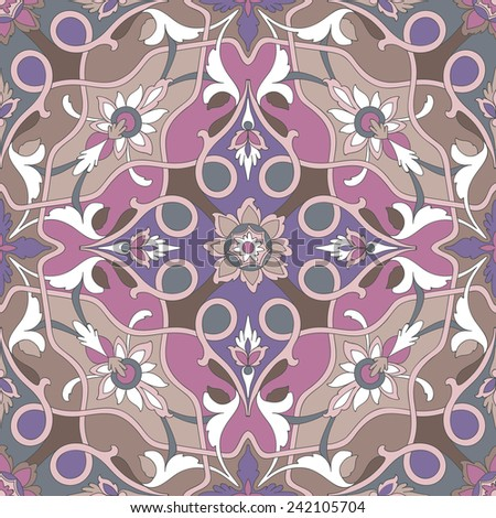 Amazing dramatic ornamental pattern of excellent quality and detail. Ligature pink stalks of flowers and leaves stranded on a beige, brown, purple and violet background. - stock vector