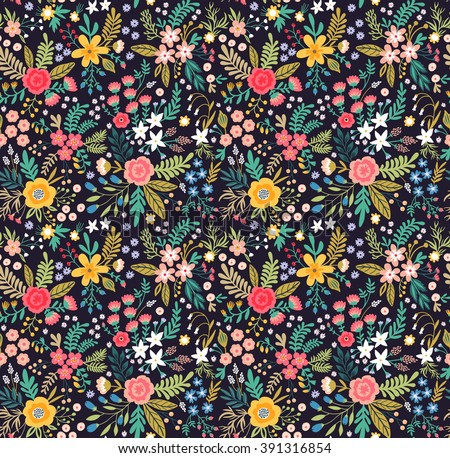 Amazing floral pattern with bright colorful flowers, plants, branches and berries on a black background. Seamless floral pattern. The elegant the template. For your design with love.  - stock vector