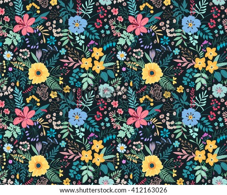Amazing Floral Pattern Bright Colorful Flowers Stock ...