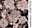 Amazing floral seamless pattern on black background - stock photo