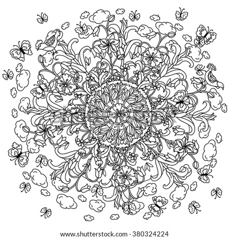 Amazing flowers and butterflies and birds and garden plants, Vector hand drawn.  Art mandala concept, could be use for adult coloring book or  invitation, card, ticket,  in zentagle style.