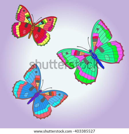 Amazing fly butterflies. Vector set. Creative bohemia concept for wedding invitations, cards, tickets, congratulations, branding, logo.