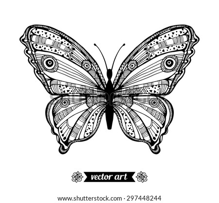 Amazing fly butterfly. Vector. Creative bohemia concept for wedding invitations, cards, tickets, congratulations, branding, logo, label. Black and white - stock vector