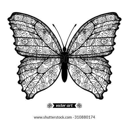 Amazing fly butterfly, wildlife insect, dots spiral circle. Vector. Creative bohemia concept for wedding invitations, cards, tickets, congratulations, branding, logo, label Black and white - stock vector