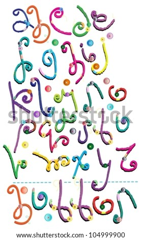 Amazing hand drawn Alphabet with buttons, vector - stock vector