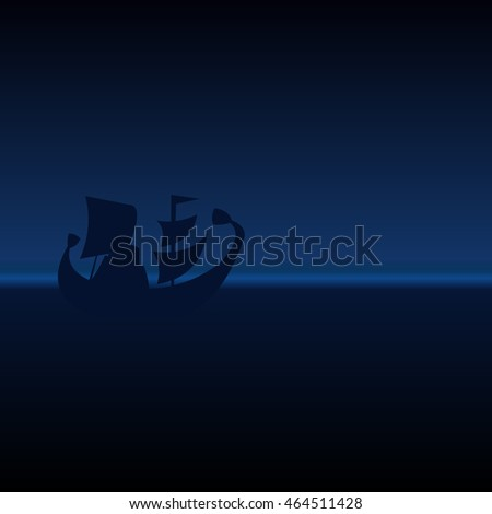 Amazing night landscape with sailing ship at sea on a background of blue sky