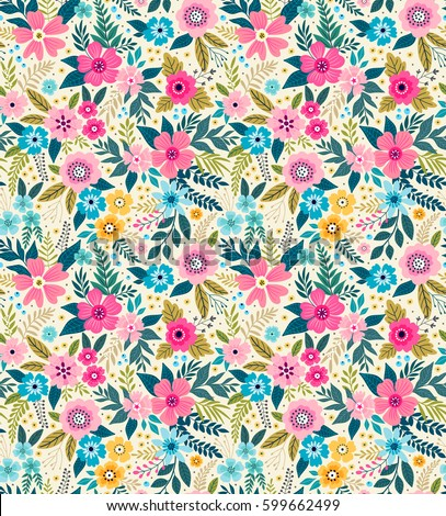 Superior Amazing Seamless Floral Pattern With Bright Colorful Flowers And Leaves On  A White Background. The