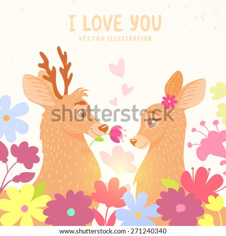 Amazing stylish and beautiful card with two cartoon deer in flowers. Card for Valentines Day