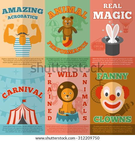 Amazing traveling circus magic performance announcement flat icons composition banner with funny clown abstract vector isolated illustration - stock vector