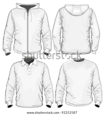 Amazing vector set. Men's polo-shirt, t-shirt and sweatshirt (long sleeve) design template. No mesh.