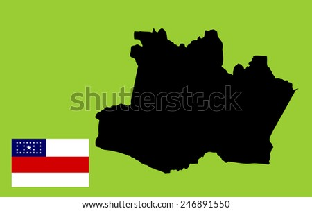 Amazonas,Brazil, vector map and flag isolated on background. High detailed silhouette illustration. Original Amazonas flag isolated vector in official colors and Proportion Correctly - stock vector