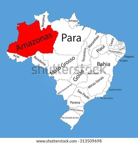 Amazonas, Brazil, vector map isolated on Brazil map. Editable vector map of Brazil. - stock vector