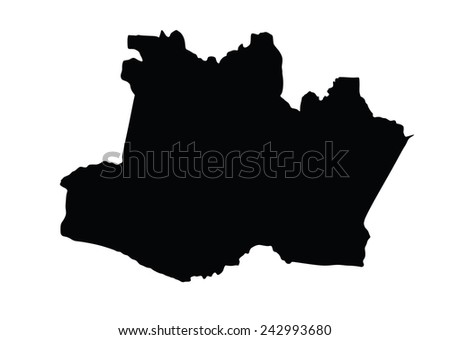 Amazonas,Brazil, vector map isolated on white background. High detailed silhouette illustration.   - stock vector