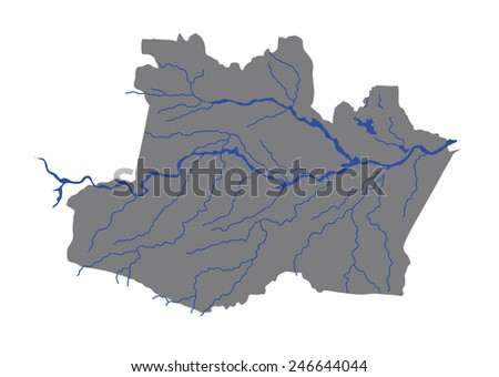 Amazonas, Brazil, vector map isolated on white background. High detailed silhouette illustration.  - stock vector