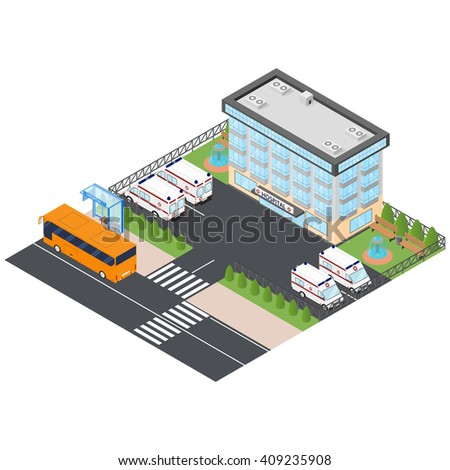 "Ambulance and hospital in the isometric. To call for help. Bus stop ""hospital"". Orange city bus. Ambulances in the Parking lot. Vector illustration."